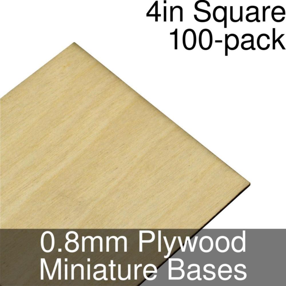 Miniature Bases, Square, 4inch, 0.8mm Plywood (100) - LITKO Game Accessories