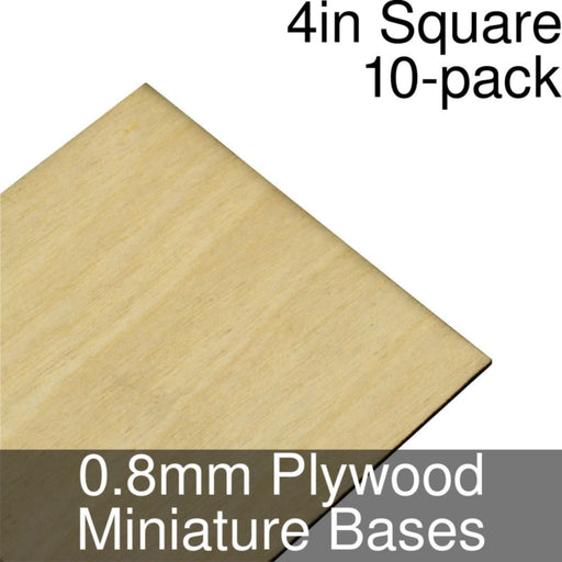 Miniature Bases, Square, 4inch, 0.8mm Plywood (10) - LITKO Game Accessories