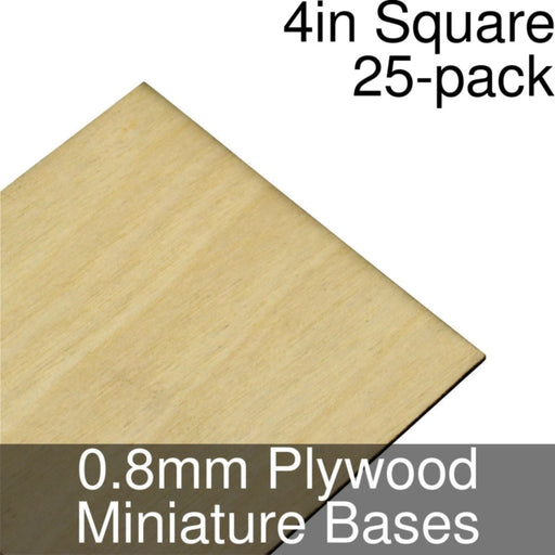 Miniature Bases, Square, 4inch, 0.8mm Plywood (25) - LITKO Game Accessories