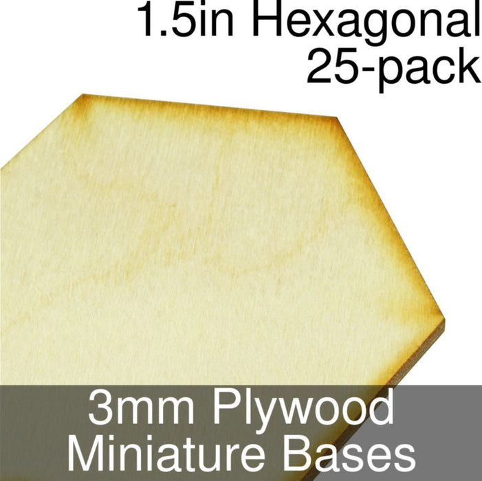 Miniature Bases, Hexagonal, 1.5inch, 3mm Plywood (25) - LITKO Game Accessories