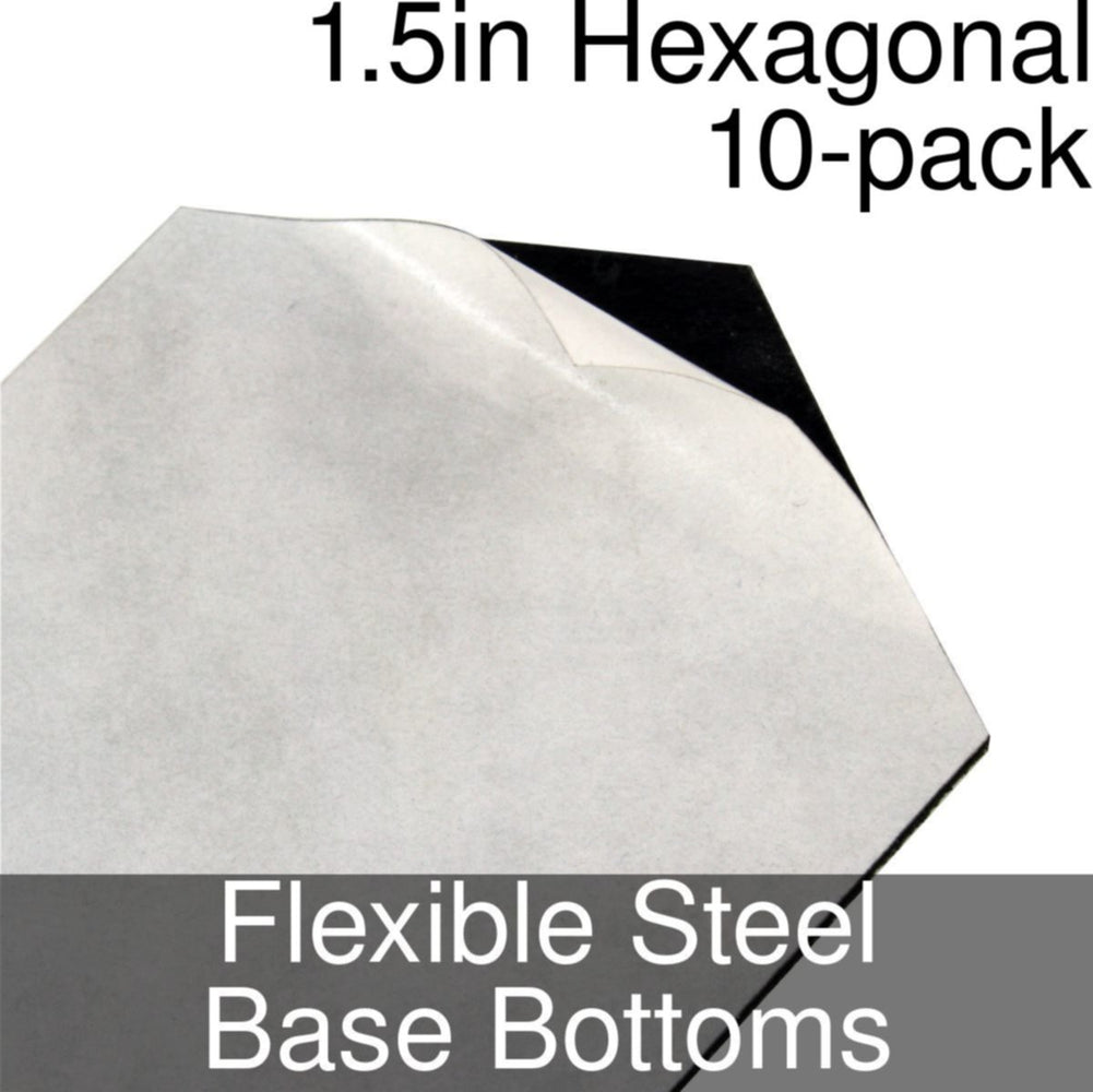 Miniature Base Bottoms, Hexagonal, 1.5inch, Flexible Steel (10) - LITKO Game Accessories