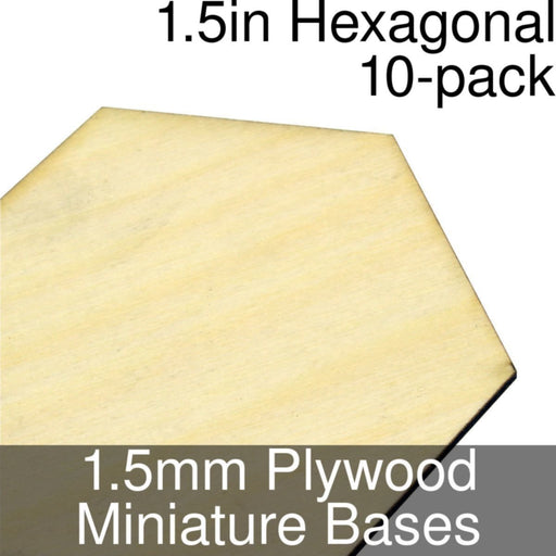 Miniature Bases, Hexagonal, 1.5inch, 1.5mm Plywood (10) - LITKO Game Accessories