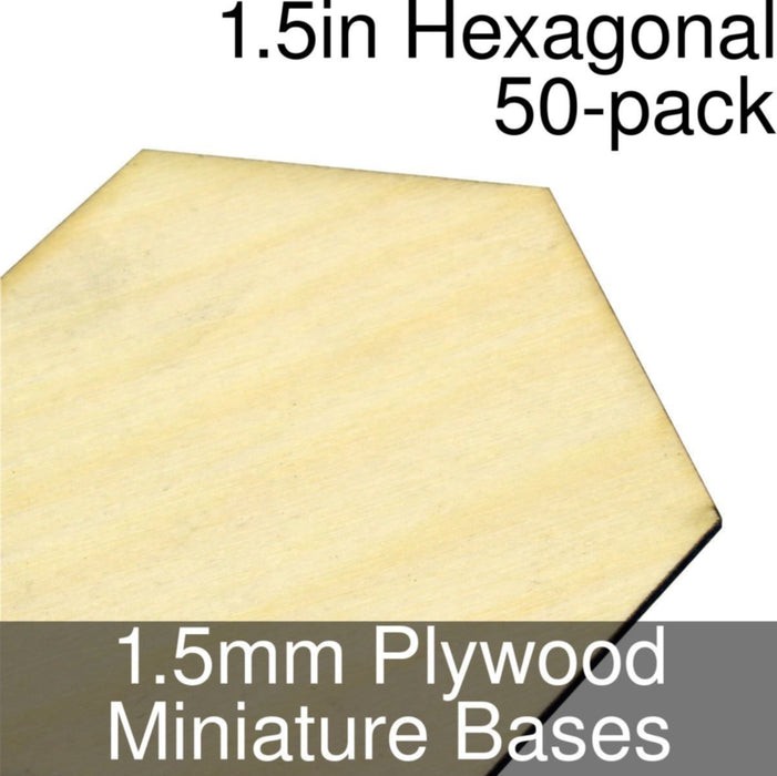 Miniature Bases, Hexagonal, 1.5inch, 1.5mm Plywood (50) - LITKO Game Accessories