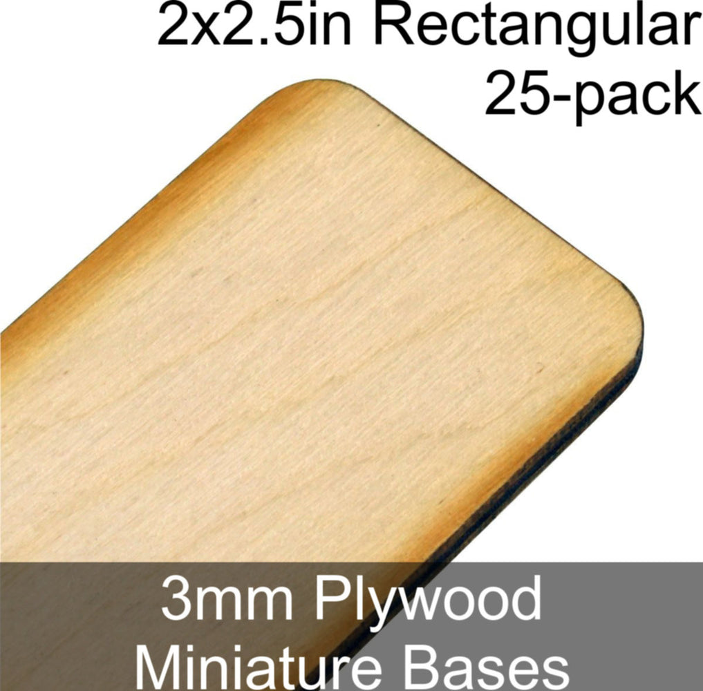 Miniature Bases, Rectangular, 2x2.5in (Rounded Corners), 3mm Plywood (25) - LITKO Game Accessories