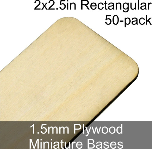 Miniature Bases, Rectangular, 2x2.5in (Rounded Corners), 1.5mm Plywood (50) - LITKO Game Accessories