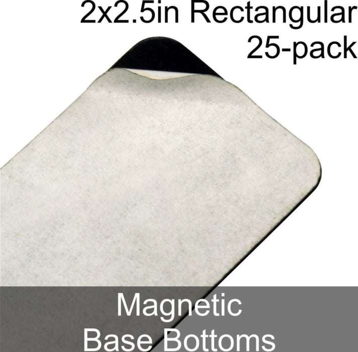 Miniature Base Bottoms, Rectangular, 2x2.5in (Rounded Corners), Magnet (25) - LITKO Game Accessories
