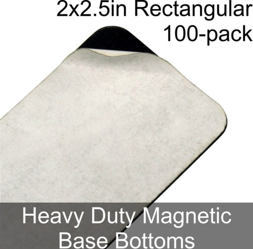 Miniature Base Bottoms, Rectangular, 2x2.5in (Rounded Corners), Heavy Duty Magnet (100) - LITKO Game Accessories