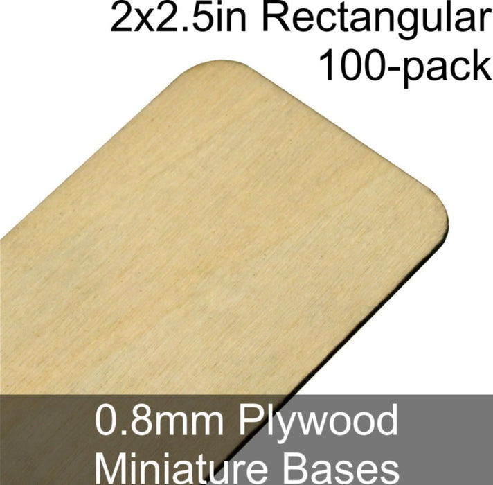 Miniature Bases, Rectangular, 2x2.5in (Rounded Corners), 0.8mm Plywood (100) - LITKO Game Accessories