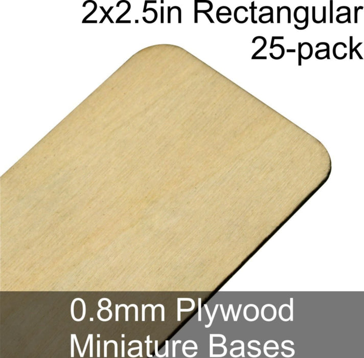 Miniature Bases, Rectangular, 2x2.5in (Rounded Corners), 0.8mm Plywood (25) - LITKO Game Accessories
