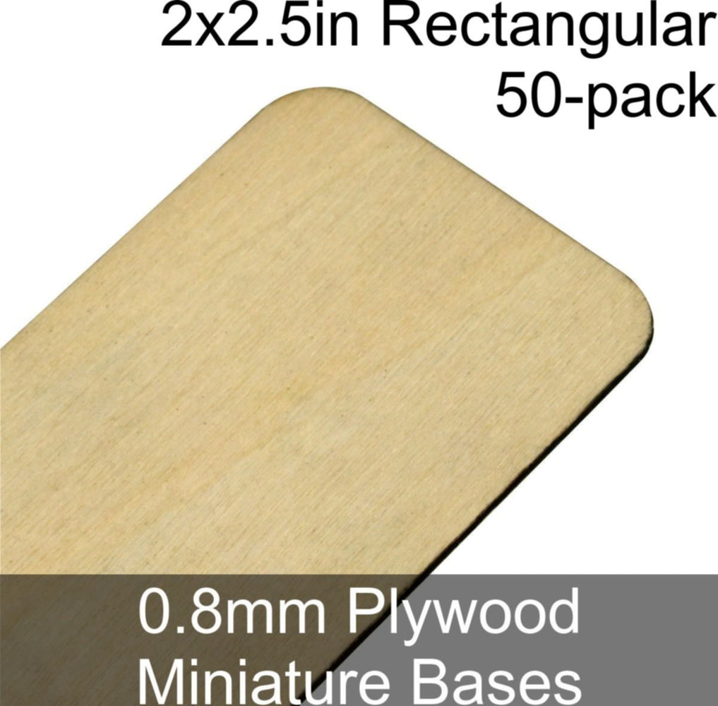 Miniature Bases, Rectangular, 2x2.5in (Rounded Corners), 0.8mm Plywood (50) - LITKO Game Accessories