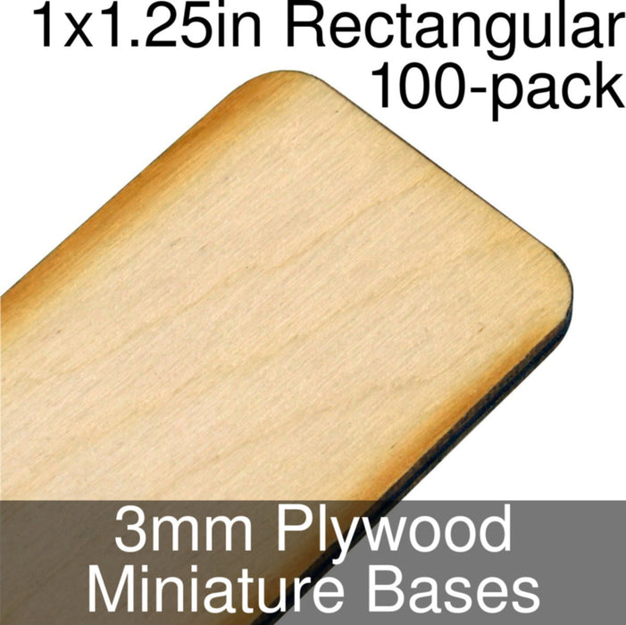 Miniature Bases, Rectangular, 1x1.25in (Rounded Corners), 3mm Plywood (100) - LITKO Game Accessories