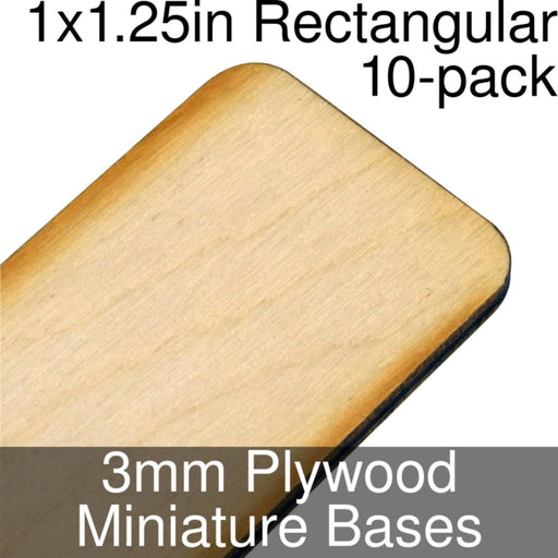 Miniature Bases, Rectangular, 1x1.25in (Rounded Corners), 3mm Plywood (10) - LITKO Game Accessories