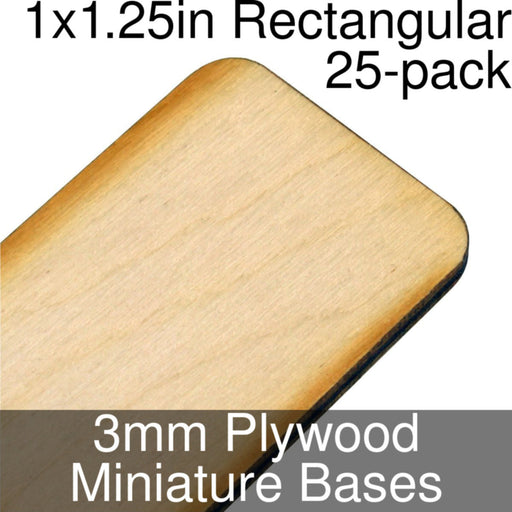 Miniature Bases, Rectangular, 1x1.25in (Rounded Corners), 3mm Plywood (25) - LITKO Game Accessories