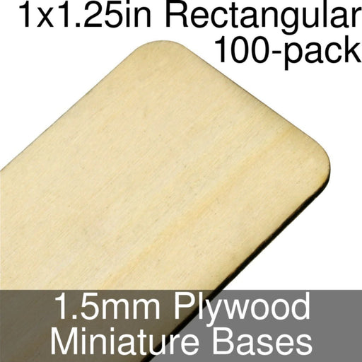 Miniature Bases, Rectangular, 1x1.25in (Rounded Corners), 1.5mm Plywood (100) - LITKO Game Accessories