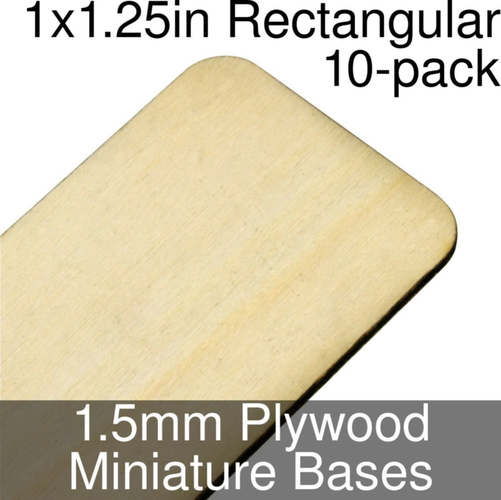 Miniature Bases, Rectangular, 1x1.25in (Rounded Corners), 1.5mm Plywood (10) - LITKO Game Accessories