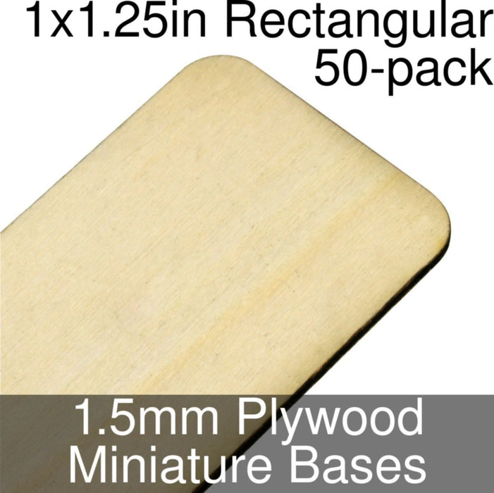 Miniature Bases, Rectangular, 1x1.25in (Rounded Corners), 1.5mm Plywood (50) - LITKO Game Accessories