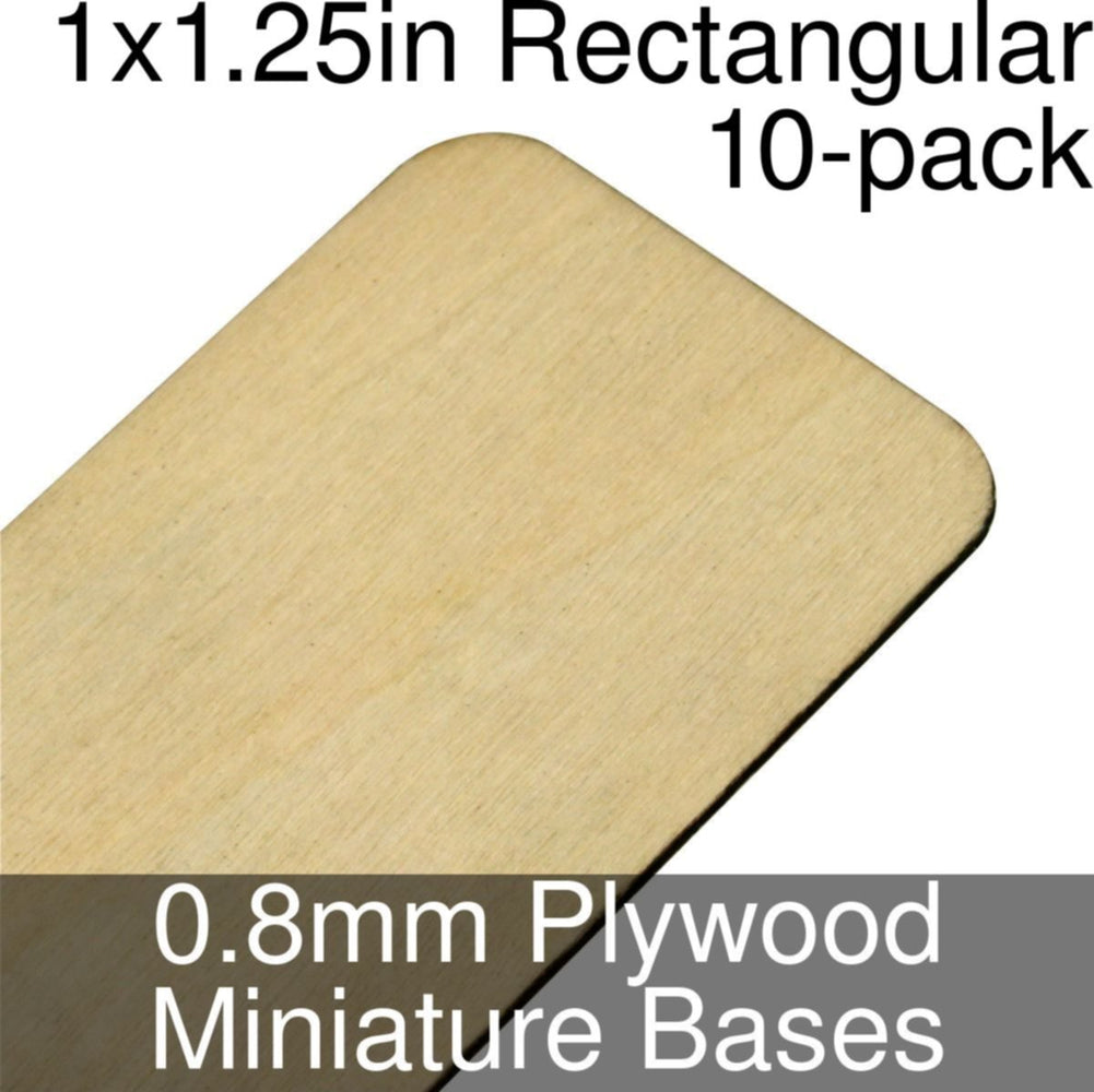 Miniature Bases, Rectangular, 1x1.25in (Rounded Corners), 0.8mm Plywood (10) - LITKO Game Accessories
