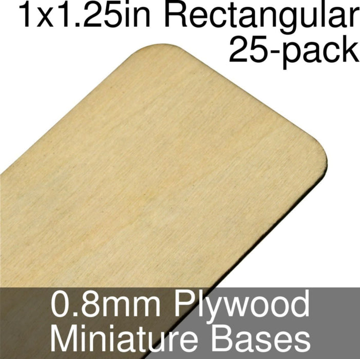 Miniature Bases, Rectangular, 1x1.25in (Rounded Corners), 0.8mm Plywood (25) - LITKO Game Accessories