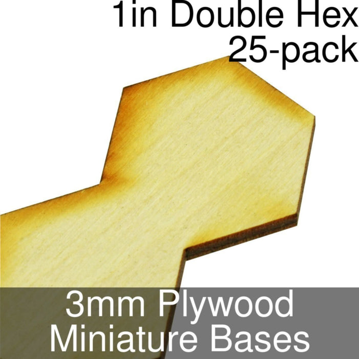 Miniature Bases, Double Hex, 1inch, 3mm Plywood (25) - LITKO Game Accessories