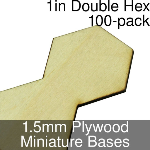 Miniature Bases, Double Hex, 1inch, 1.5mm Plywood (100) - LITKO Game Accessories