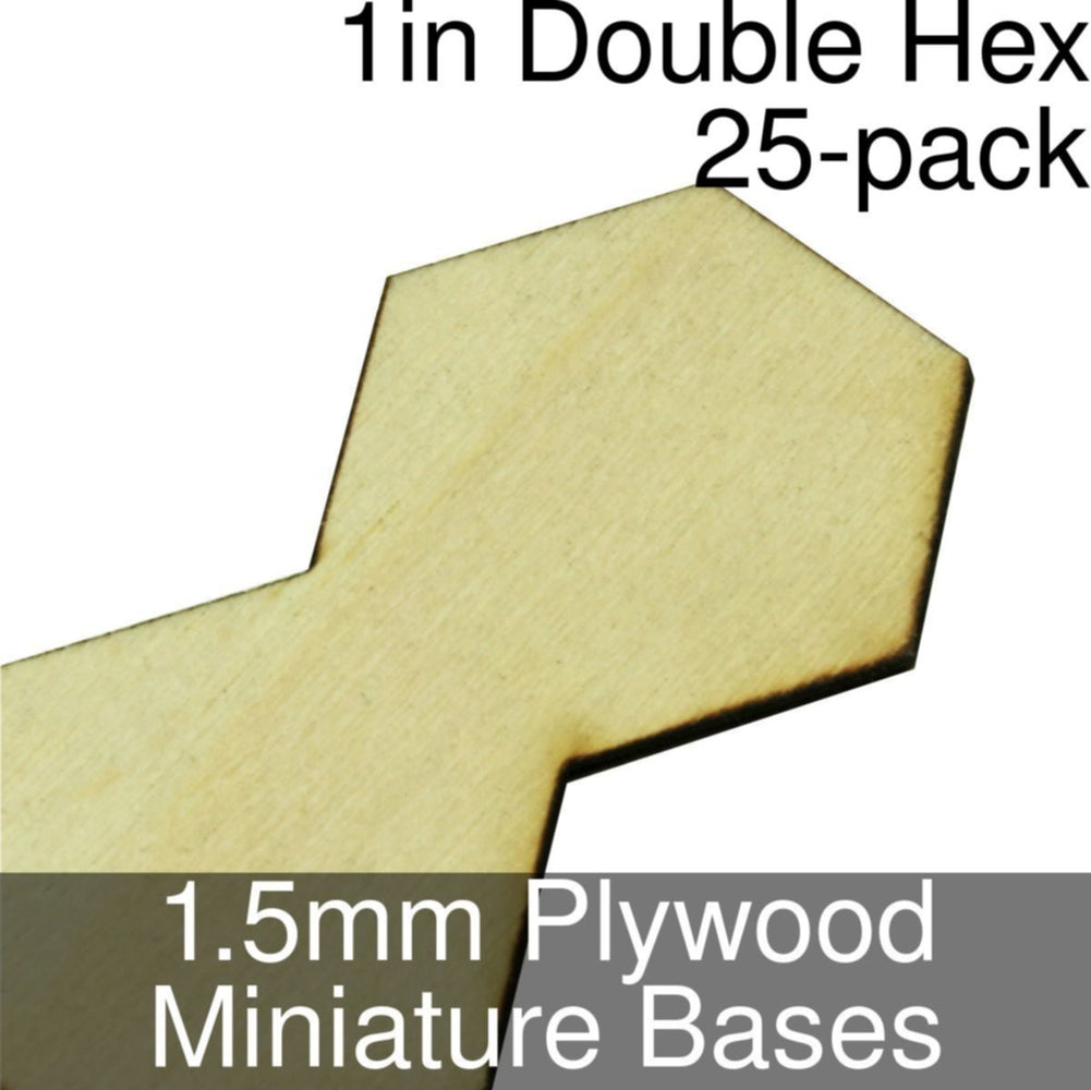 Miniature Bases, Double Hex, 1inch, 1.5mm Plywood (25) - LITKO Game Accessories