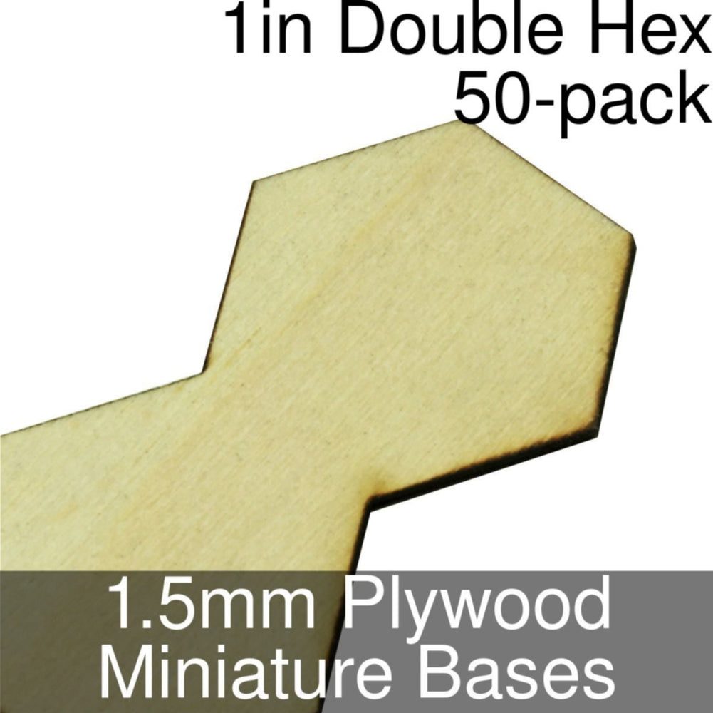 Miniature Bases, Double Hex, 1inch, 1.5mm Plywood (50) - LITKO Game Accessories