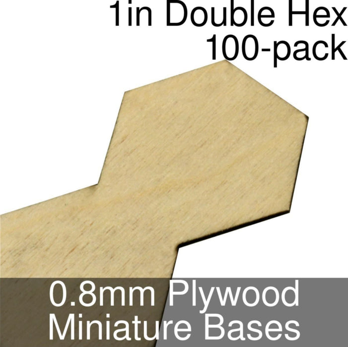 Miniature Bases, Double Hex, 1inch, 0.8mm Plywood (100) - LITKO Game Accessories