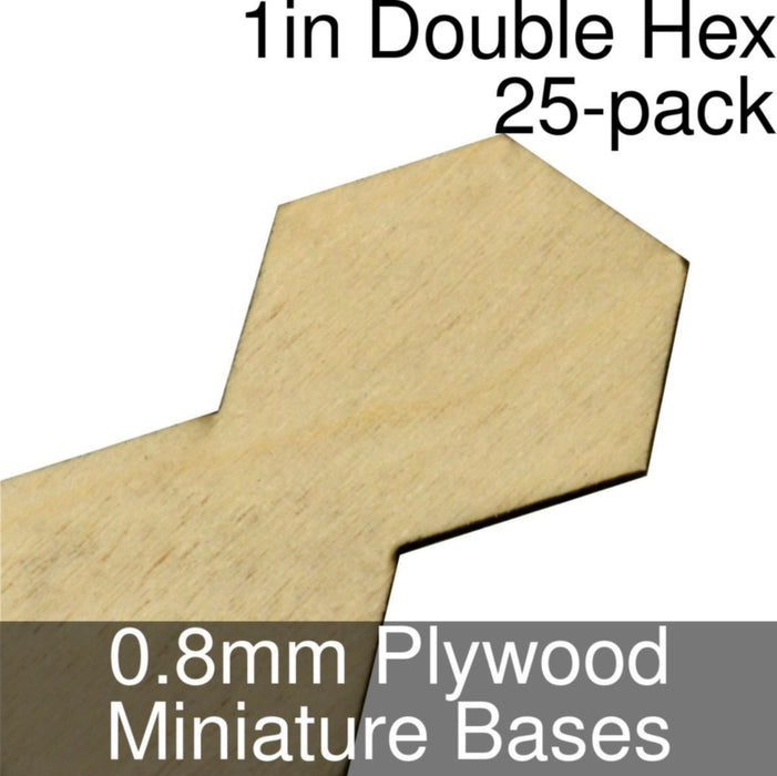 Miniature Bases, Double Hex, 1inch, 0.8mm Plywood (25) - LITKO Game Accessories