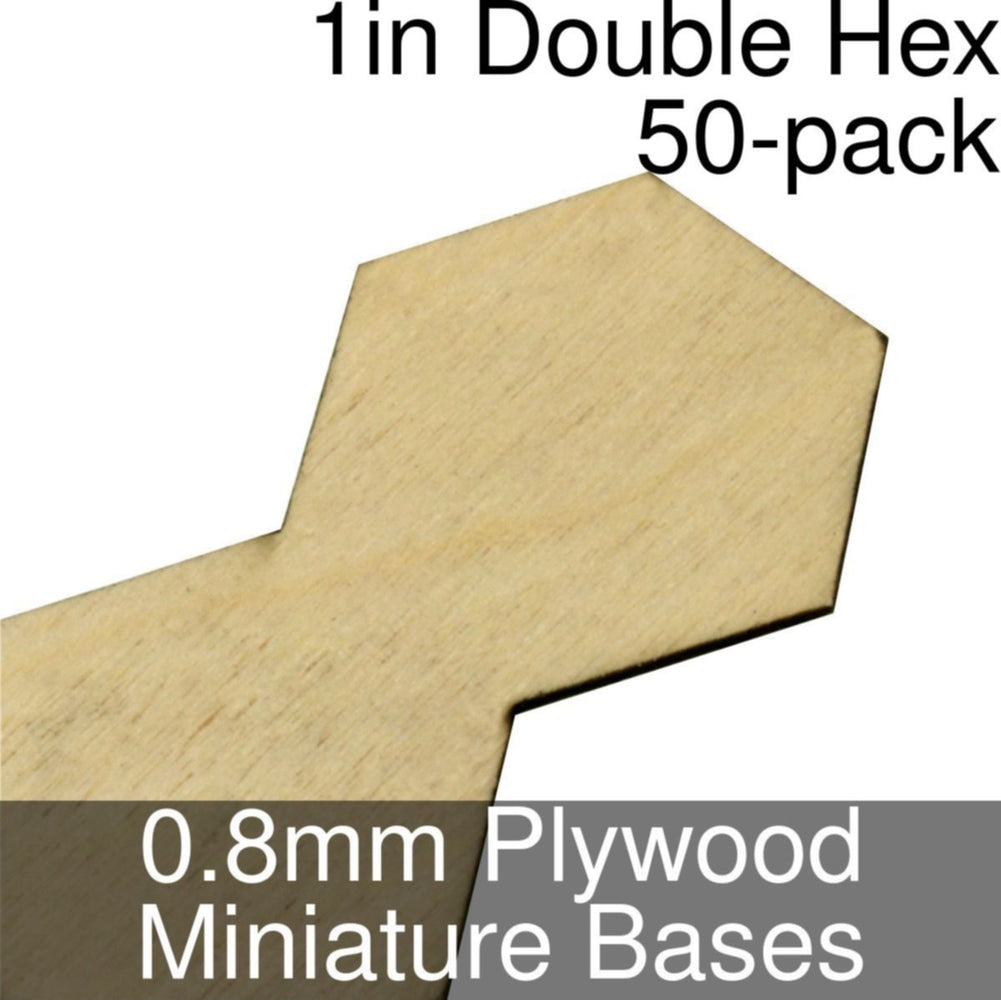 Miniature Bases, Double Hex, 1inch, 0.8mm Plywood (50) - LITKO Game Accessories