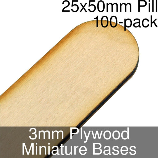 Miniature Bases, Pill, 25x50mm, 3mm Plywood (100) - LITKO Game Accessories