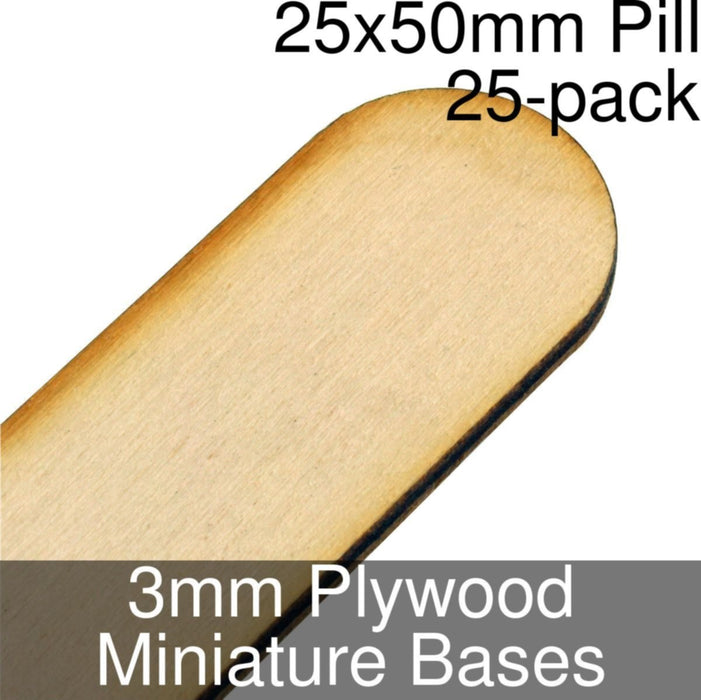 Miniature Bases, Pill, 25x50mm, 3mm Plywood (25) - LITKO Game Accessories