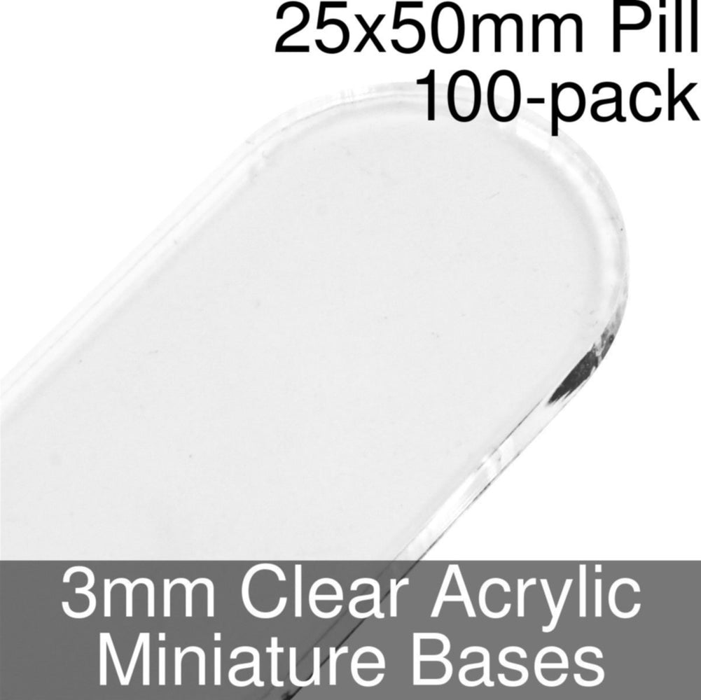 Miniature Bases, Pill, 25x50mm, 3mm Clear (100) - LITKO Game Accessories