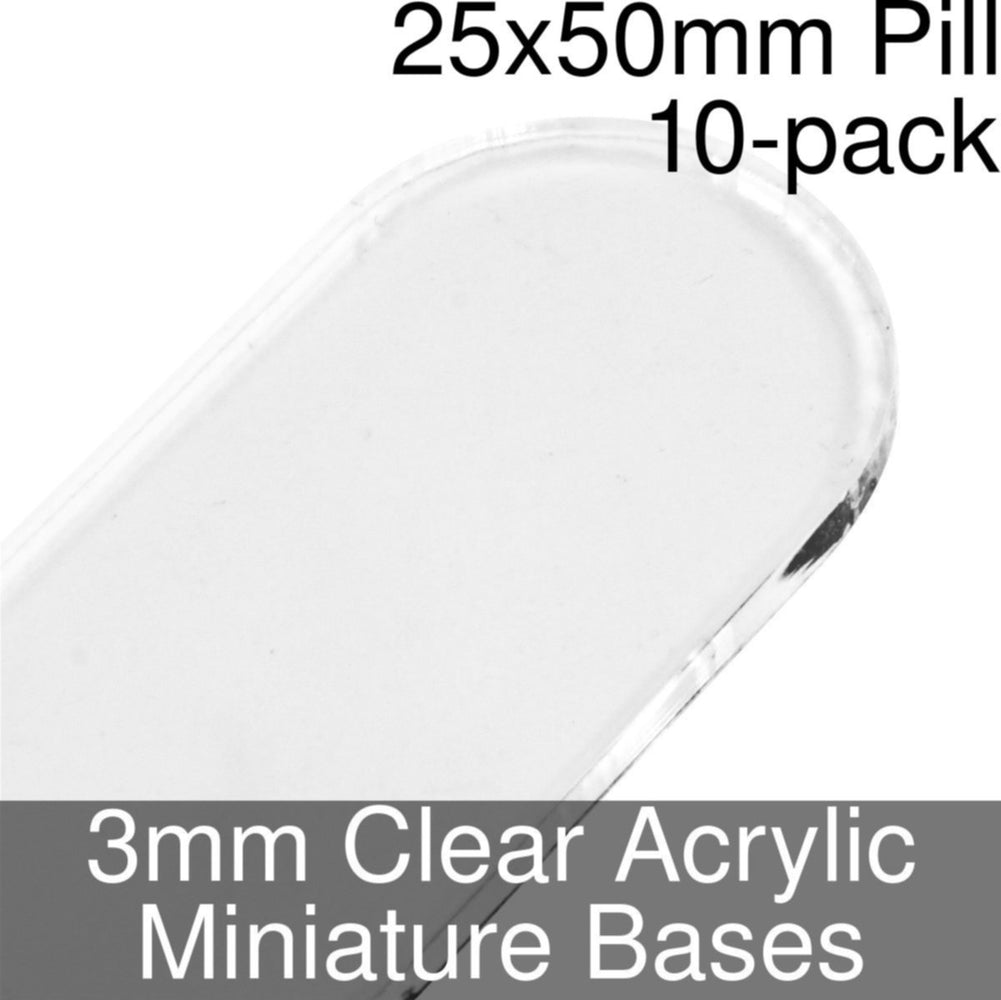 Miniature Bases, Pill, 25x50mm, 3mm Clear (10) - LITKO Game Accessories