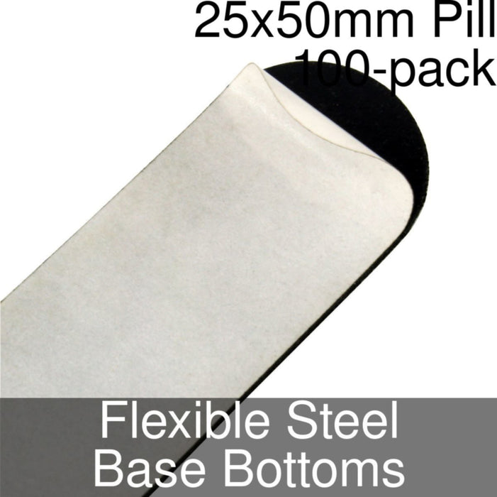 Miniature Base Bottoms, Pill, 25x50mm, Flexible Steel (100) - LITKO Game Accessories