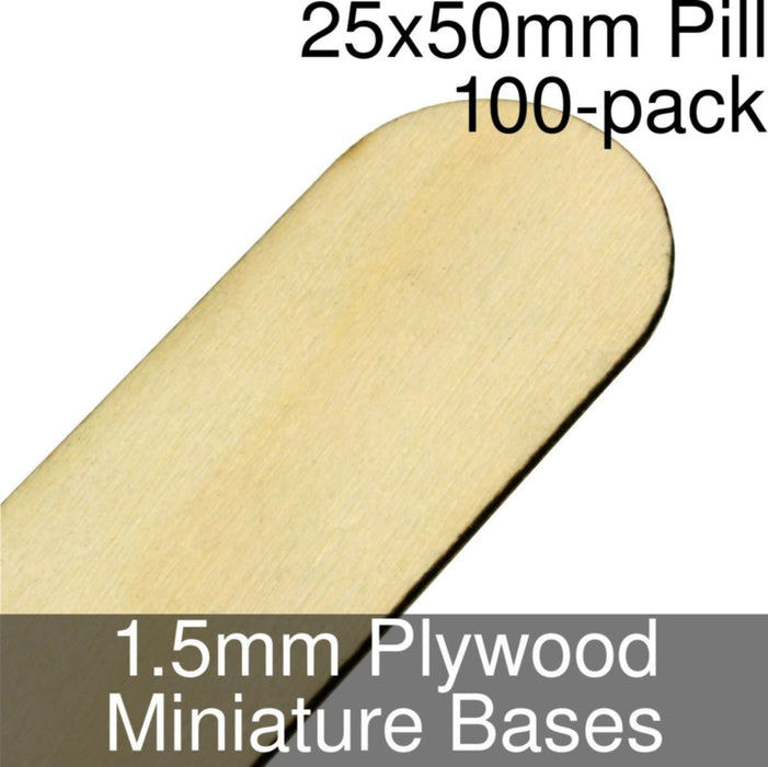 Miniature Bases, Pill, 25x50mm, 1.5mm Plywood (100) - LITKO Game Accessories