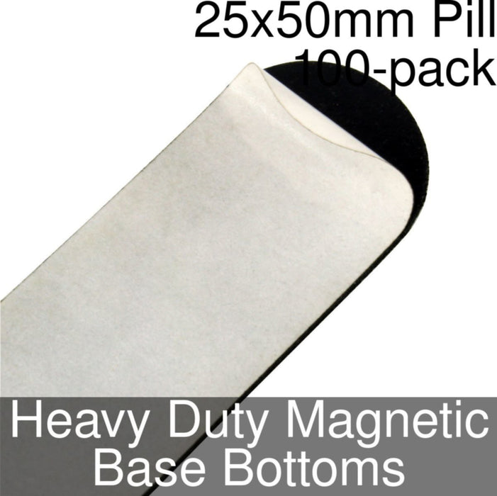 Miniature Base Bottoms, Pill, 25x50mm, Heavy Duty Magnet (100) - LITKO Game Accessories