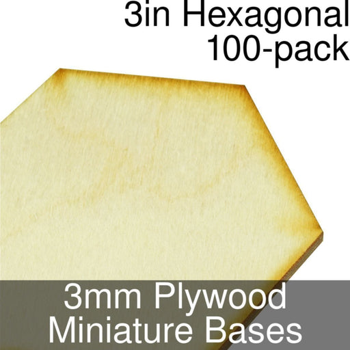 Miniature Bases, Hexagonal, 3inch, 3mm Plywood (100) - LITKO Game Accessories