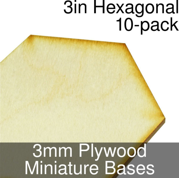 Miniature Bases, Hexagonal, 3inch, 3mm Plywood (10) - LITKO Game Accessories