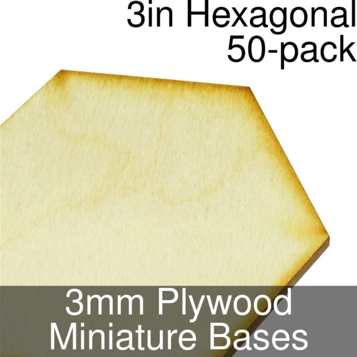 Miniature Bases, Hexagonal, 3inch, 3mm Plywood (50) - LITKO Game Accessories