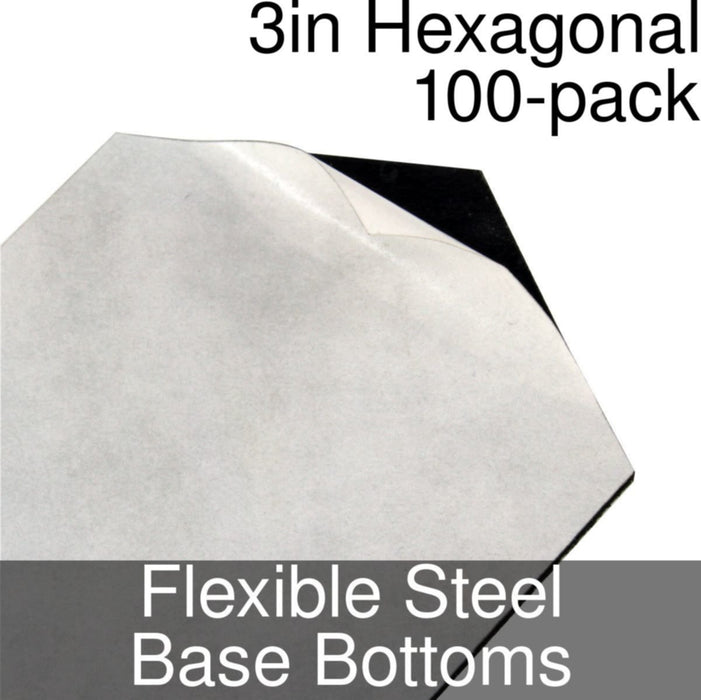 Miniature Base Bottoms, Hexagonal, 3inch, Flexible Steel (100) - LITKO Game Accessories