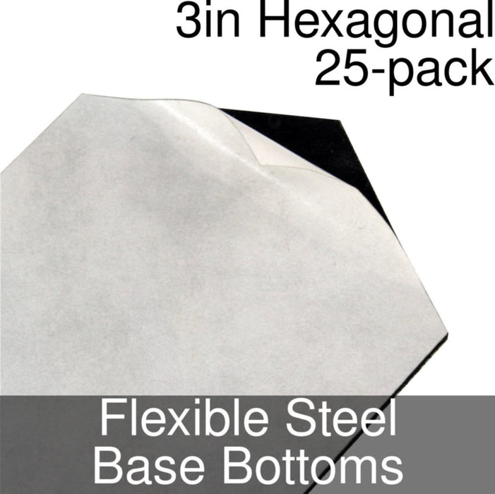 Miniature Base Bottoms, Hexagonal, 3inch, Flexible Steel (25) - LITKO Game Accessories