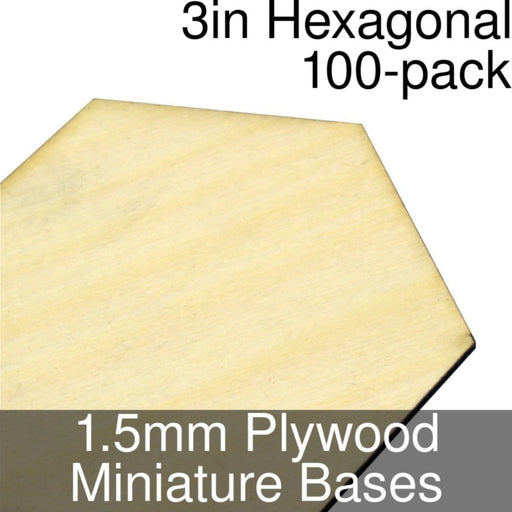Miniature Bases, Hexagonal, 3inch, 1.5mm Plywood (100) - LITKO Game Accessories