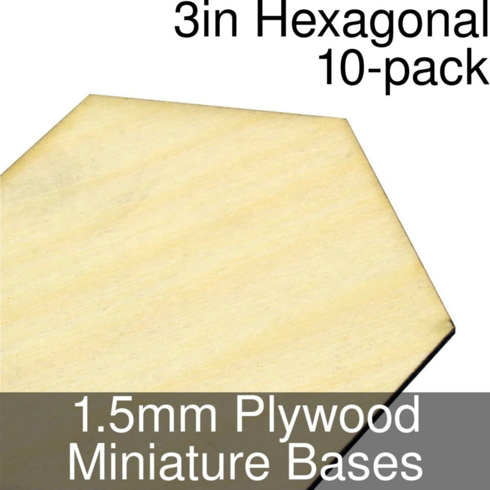 Miniature Bases, Hexagonal, 3inch, 1.5mm Plywood (10) - LITKO Game Accessories