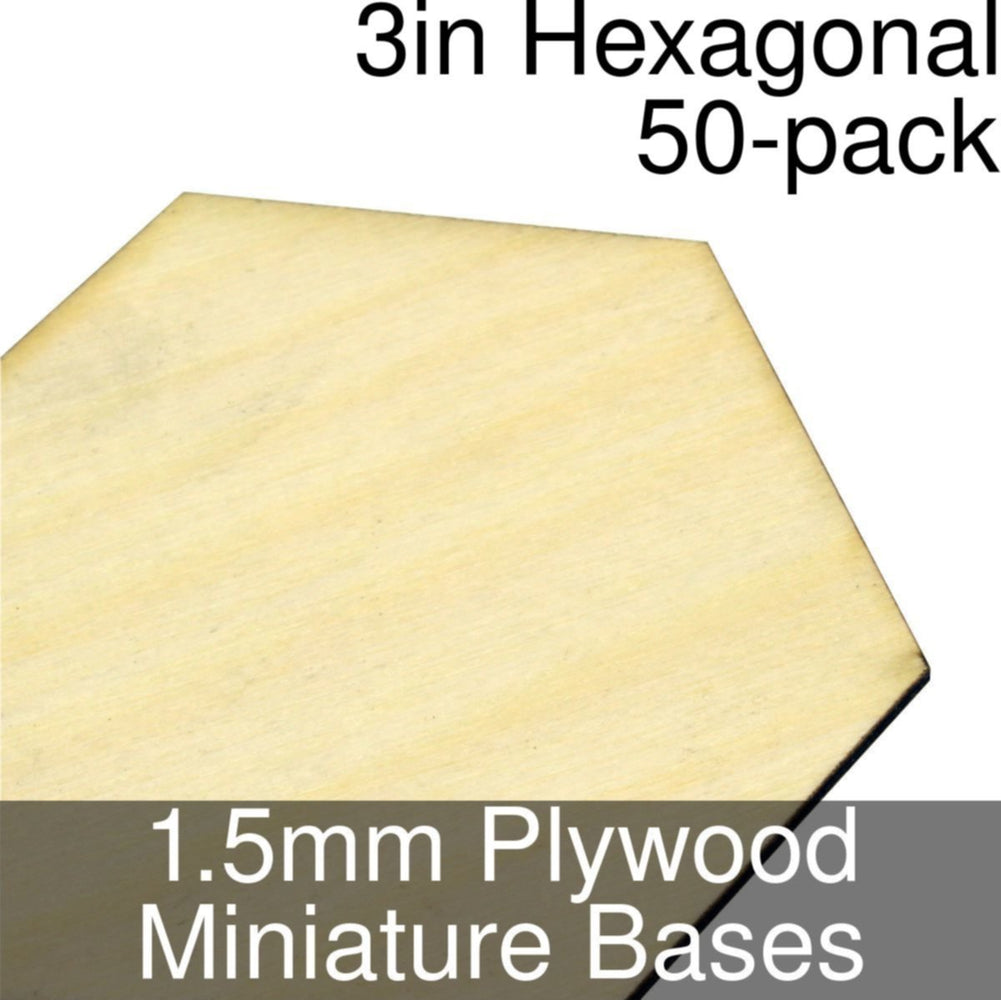 Miniature Bases, Hexagonal, 3inch, 1.5mm Plywood (50) - LITKO Game Accessories