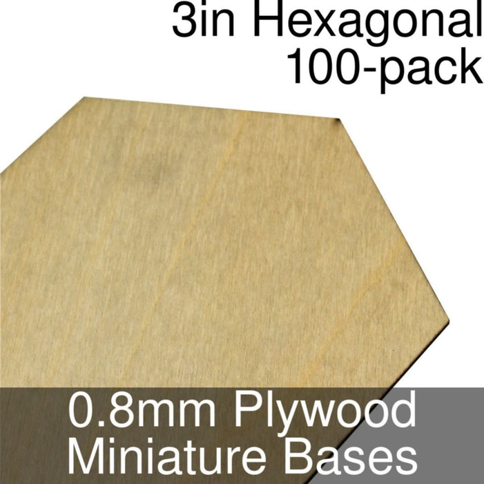 Miniature Bases, Hexagonal, 3inch, 0.8mm Plywood (100) - LITKO Game Accessories