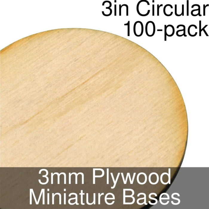 Miniature Bases, Circular, 3inch, 3mm Plywood (100) - LITKO Game Accessories