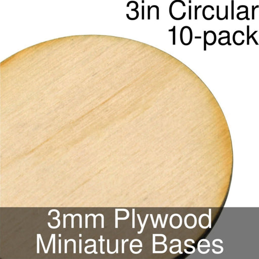 Miniature Bases, Circular, 3inch, 3mm Plywood (10) - LITKO Game Accessories