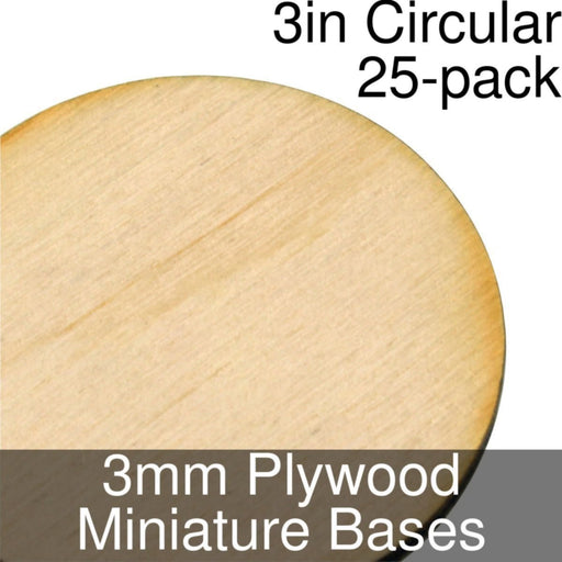 Miniature Bases, Circular, 3inch, 3mm Plywood (25) - LITKO Game Accessories