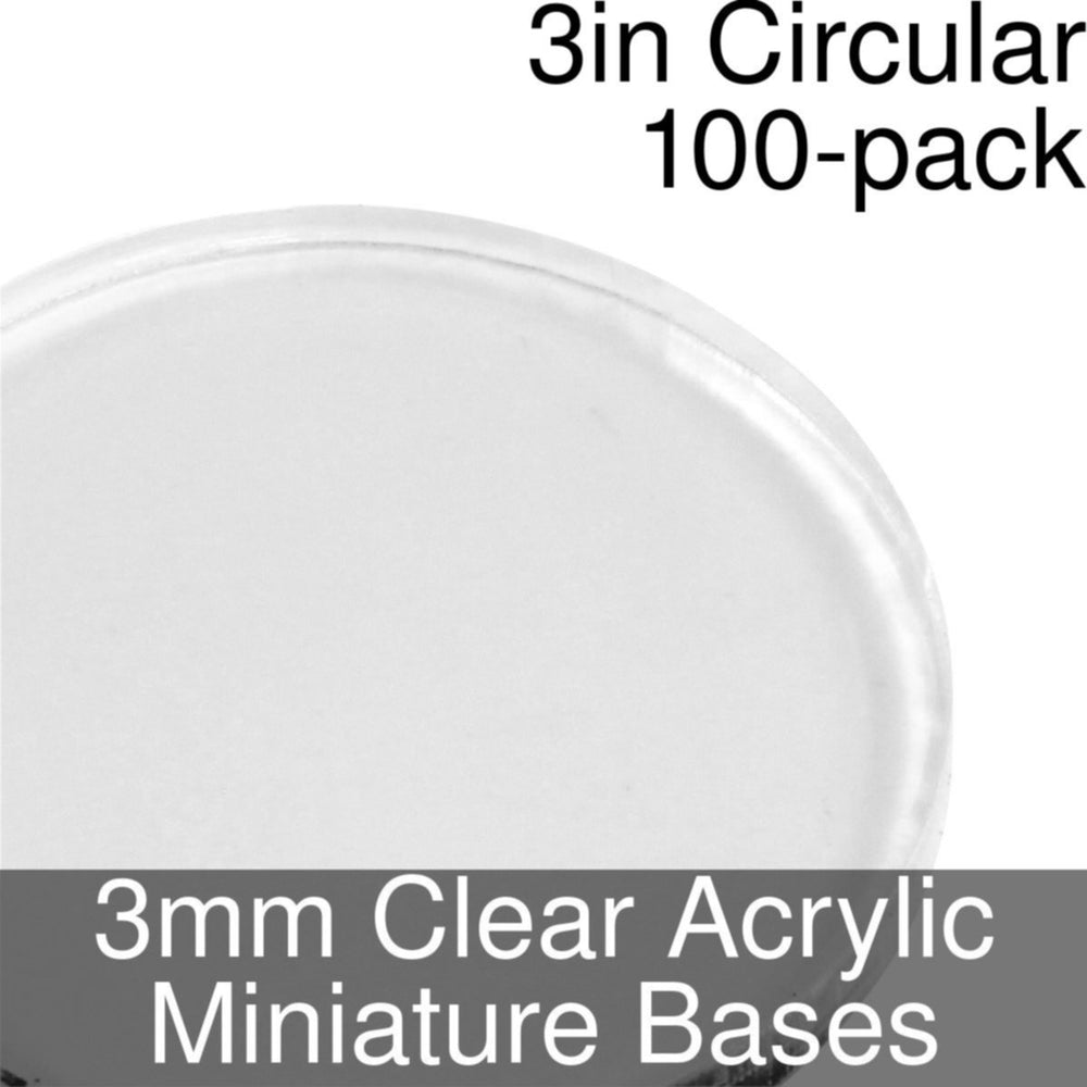 Miniature Bases, Circular, 3inch, 3mm Clear (100) - LITKO Game Accessories