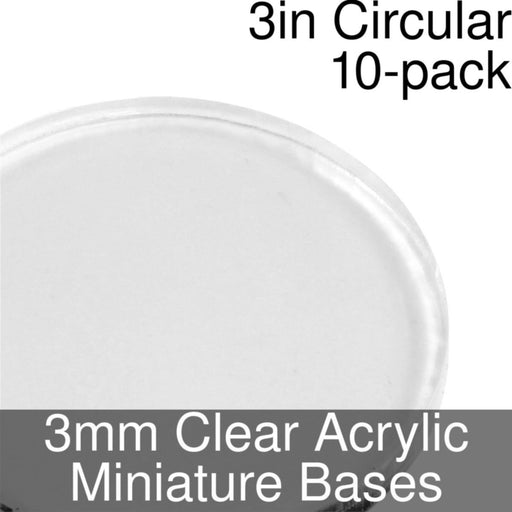 Miniature Bases, Circular, 3inch, 3mm Clear (10) - LITKO Game Accessories